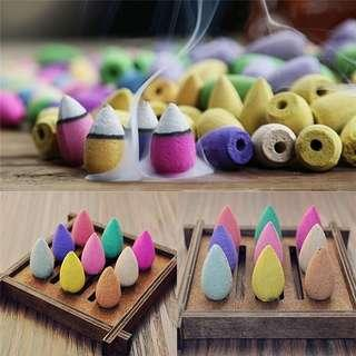 🚚 20 random mixed frangrance / colours backflow incense cones