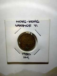 1950 George VI 10 cent Hongkong coin