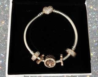 (Sale!) Original PANDORA Rose Sterling Silver Pavé Heart Clasp Bracelet with charms