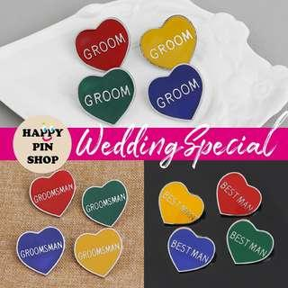 [AVAIL] Wedding Enamel Pins for Groom, Best Man, Groomsman - Heart shape, 4 colours