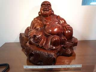 Laughing Buddha Statue (solid teak wood) -hand carved