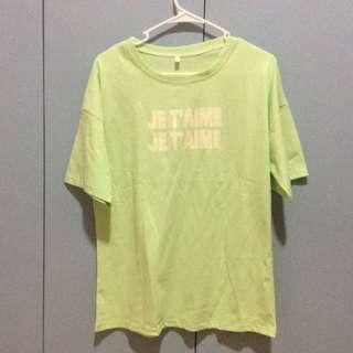 GREEN OVERSIZED JE T'AIME SHIRT