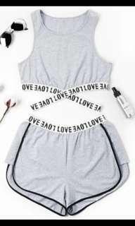 ZAFUL - Love Letters Patched Crossover Cropped Tank Top & Shorts Set