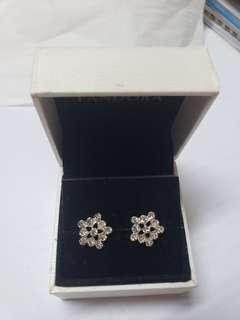 925 Silver diamond earrings flower 純銀閃石耳環 no box