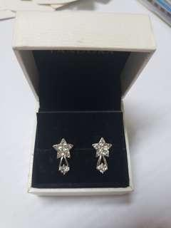 925 Silver diamond earrings star 純銀閃石耳環 no box