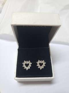 925 Silver diamond earrings heart 純銀閃石耳環 no box