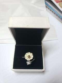 925 Silver diamond flowers rings no box