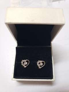 925 Silver diamond heart earrings 純銀閃石耳環 no box