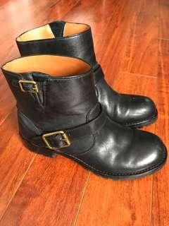 Marc by Marc Jacobs Black Leather Engineer Ankle Boots 36