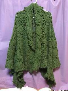 墨綠色兔毛人手鈎織外套