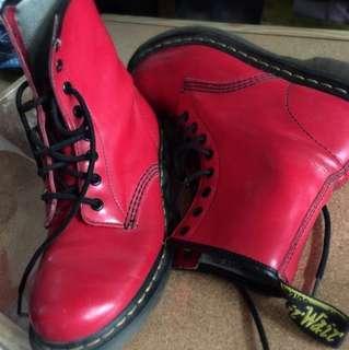 Dr.Martens 紅色漆皮 馬丁靴 8孔 二手