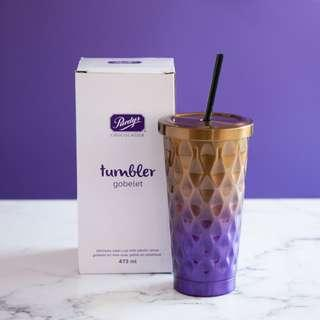 Purdys Chocolatier Tumbler Gobelet Stainless Steel Cup with Plastic Straw