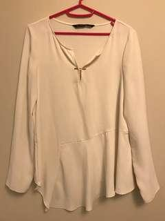 Zara Basic Collection beige blouse size small