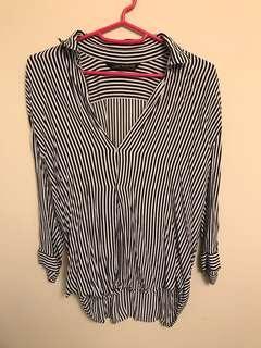 Zara Woman navy white stripe blouse size XS
