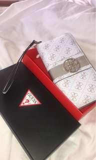 Guess white and nude zip wallet