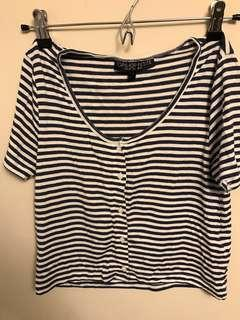 Topshop Petite navy and white cropped top fits XS - M