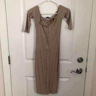 Bodycon Taupe Dress (Small)