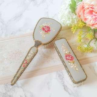 Vintage Embroidered Vanity Brushes