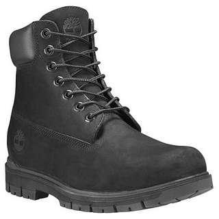 timberland waterproof wide radford 6 boots in black nubuck