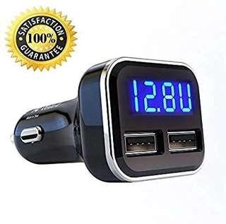 A211 - Jebsens 4.8A 24W Dual USB Car Charger Volt Meter Car Battery Monitor with LED Voltage & Amps Display