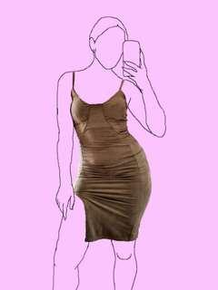 (New) Mendocino tan suede fitted dress w/ slit M