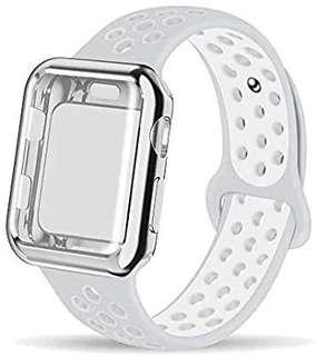 A216 - Soft Silicone Sport WristbandCompatible for Apple Watch Band 38mm (White & Grey)