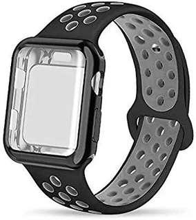A217 - Soft Silicone Sport WristbandCompatible for Apple Watch Band 38mm (Black & Grey)