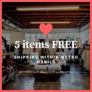 Free shipping for 5 items