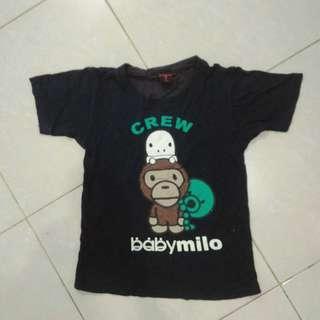 Baju Kaus Kaos Atasan Anak Perempuan Laki-laki Unisex Navy Milo Katun Bekas Second Preloved Murah