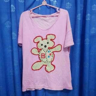 Baju Kaus Kaos Atasan Anak Perempuan Pink Beruang Timbul Katun Bekas Second Preloved Murah