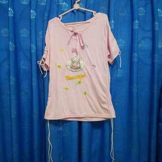 Baju Kaus Kaos Atasan Anak Perempuan Pink Boneka Beautiful Katun Bekas Second Preloved Murah