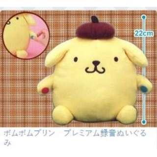 (現貨)2019日本景品 全新正品 Sanrio卡通 布甸狗 布丁狗 Pom Pom Purin 錄音毛公仔 22cm