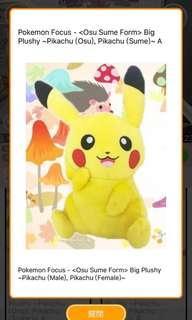 (現貨)日本景品 全新正品 卡通 Pokemon寵物小精靈比卡超pikachu毛公仔(2019)(A款)24cm
