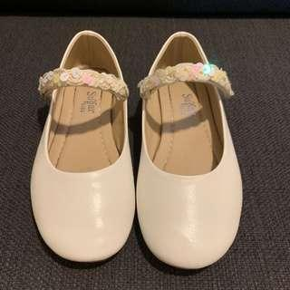 White Flats with Strap