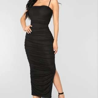 Black Mesh Ruched Midi Dress