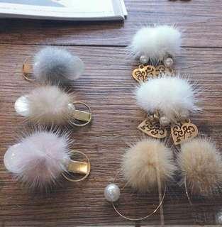 日本代購 毛毛夾耳環