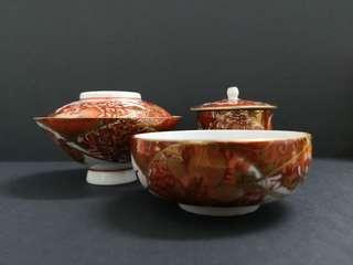 Japanese handpainted red gold porcelain dinner ware