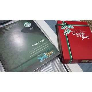 (4 Items) Starbucks 2013 Planner and 2019 Travel Organizer with free 2014-2015 Adobe Notebook Collection