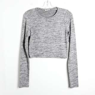 Wilfred Free L large stretch crop top gray long sleeve
