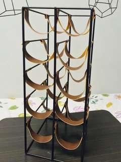 Nordic design wine rack with leather straps