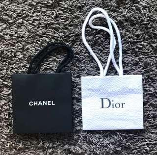 Chanel and Dior paper shopping bag