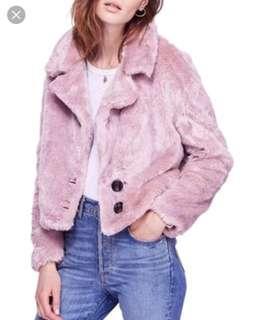 Free people pink fur cropped coat