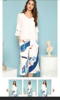 🚚 Abstract printed culottes in white