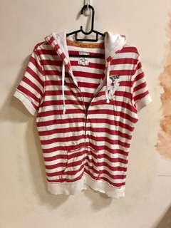 🚚 Red and White Striped Fox Short Sleeve Sweater / Jacket / Hoodie