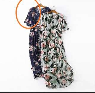 (po)plus size dark blue floral long dress