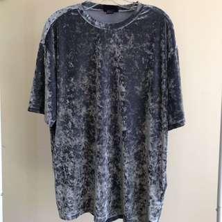 Silver crushed velvet L shirt