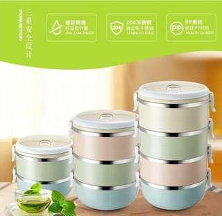 Ready Stock ✨Japan Creative Multicolor Stainless Steel Thermal Lunch 不锈钢保温饭盒
