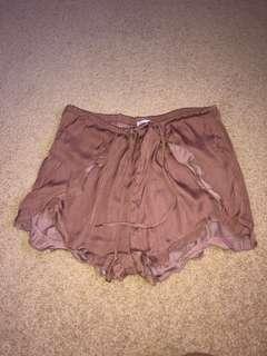 Silky satin tie shorts