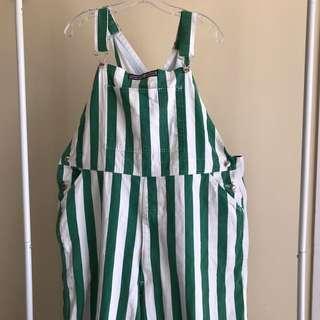 Green & White Striped overalls