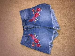 Blue denim floral shorts